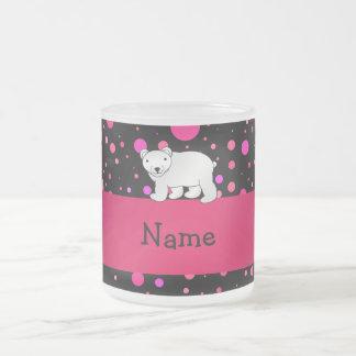 Personalized name polar bear pink polka dots 10 oz frosted glass coffee mug