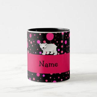 Personalized name polar bear pink polka dots Two-Tone coffee mug