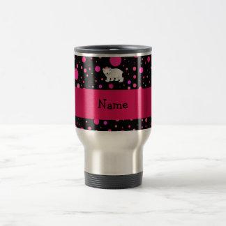 Personalized name polar bear pink polka dots 15 oz stainless steel travel mug
