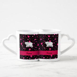 Personalized name polar bear pink polka dots couples' coffee mug set