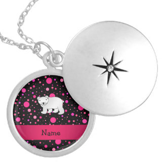 Personalized name polar bear pink polka dots round locket necklace