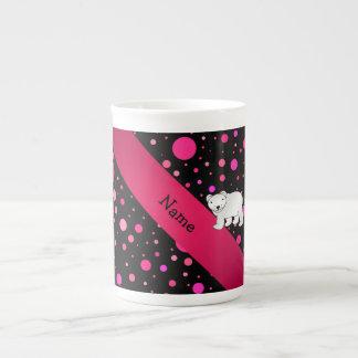Personalized name polar bear pink polka dots tea cup