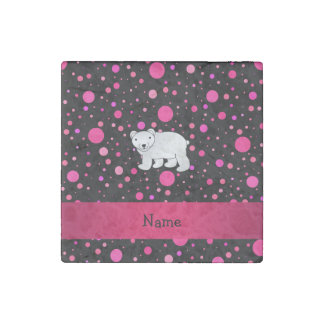 Personalized name polar bear pink polka dots stone magnet