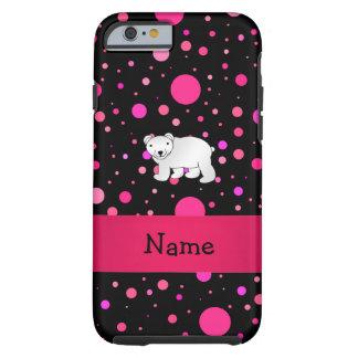 Personalized name polar bear pink polka dots tough iPhone 6 case