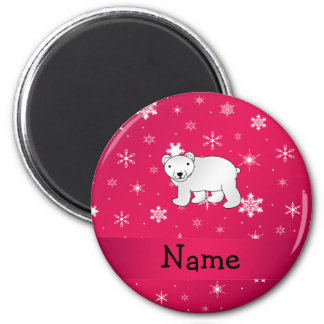 Personalized name polar bear pink snowflakes 2 inch round magnet