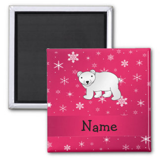 Personalized name polar bear pink snowflakes 2 inch square magnet