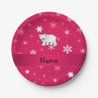 Personalized name polar bear pink snowflakes 7 inch paper plate