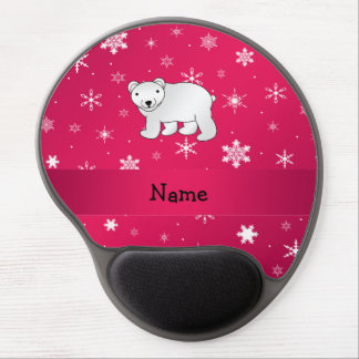 Personalized name polar bear pink snowflakes gel mouse mats
