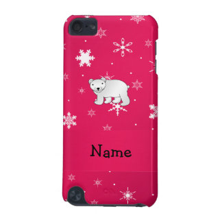 Personalized name polar bear pink snowflakes iPod touch 5G case