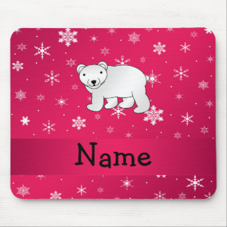 Personalized name polar bear pink snowflakes mouse pad