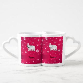 Personalized name polar bear pink snowflakes couples' coffee mug set