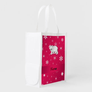 Personalized name polar bear pink snowflakes reusable grocery bag