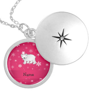 Personalized name polar bear pink snowflakes round locket necklace