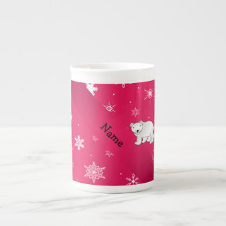 Personalized name polar bear pink snowflakes tea cup