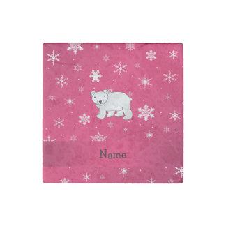 Personalized name polar bear pink snowflakes stone magnet