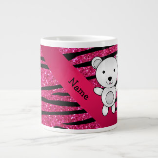 Personalized name polar bear pink zebra stripes 20 oz large ceramic coffee mug