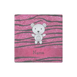Personalized name polar bear pink zebra stripes stone magnet