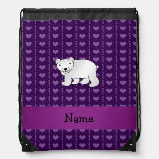 Personalized name polar bear purple hearts drawstring backpack