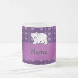 Personalized name polar bear purple hearts 10 oz frosted glass coffee mug