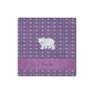 Personalized name polar bear purple hearts stone magnet