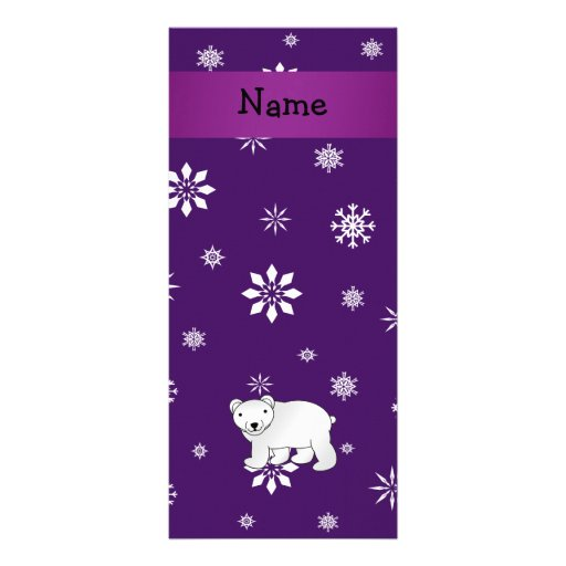 Personalized name polar bear purple snowflakes personalized rack card