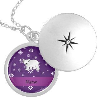 Personalized name polar bear purple snowflakes round locket necklace