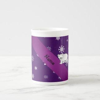 Personalized name polar bear purple snowflakes tea cup