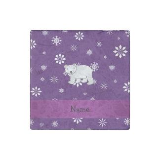 Personalized name polar bear purple snowflakes stone magnet