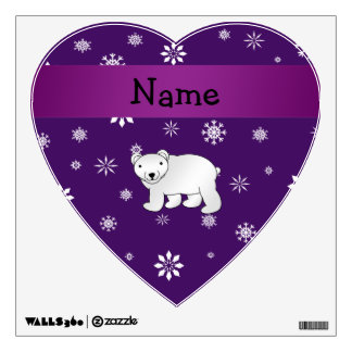 Personalized name polar bear purple snowflakes wall sticker