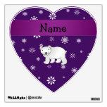 Personalized name polar bear purple snowflakes wall stickers