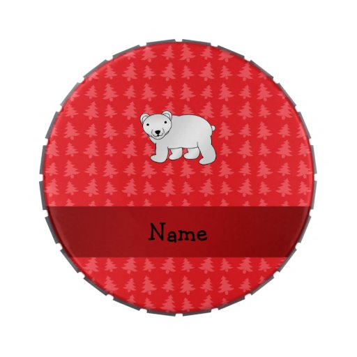 Personalized name polar bear red christmas trees jelly belly tins
