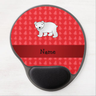Personalized name polar bear red christmas trees gel mousepads
