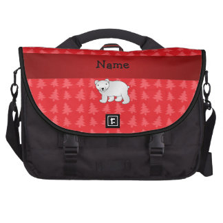 Personalized name polar bear red christmas trees laptop commuter bag