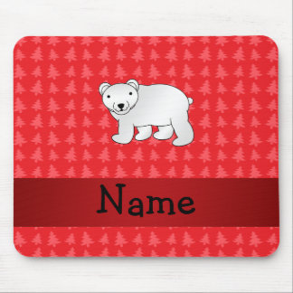 Personalized name polar bear red christmas trees mouse pads