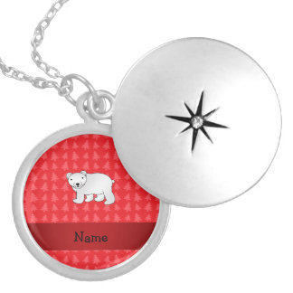 Personalized name polar bear red christmas trees round locket necklace
