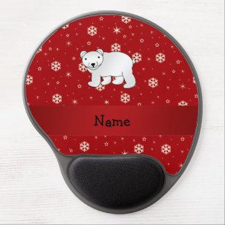 Personalized name polar bear red snowflakes gel mousepad