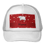 Personalized name polar bear red snowflakes trucker hats