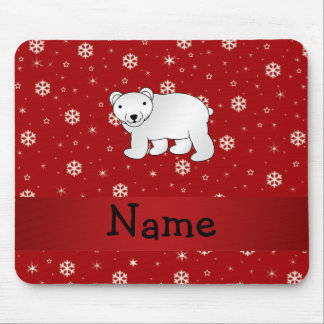 Personalized name polar bear red snowflakes mousepads