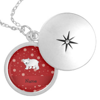 Personalized name polar bear red snowflakes round locket necklace