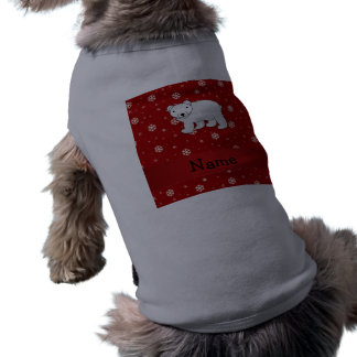 Personalized name polar bear red snowflakes shirt