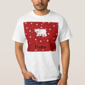 Personalized name polar bear red snowflakes T-Shirt