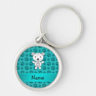 Personalized name polar bear turquoise paw pattern keychain