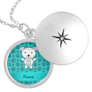 Personalized name polar bear turquoise paw pattern round locket necklace