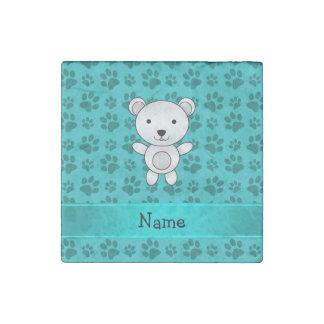 Personalized name polar bear turquoise paw pattern stone magnet