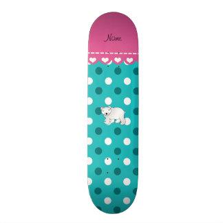 Personalized name polar bear turquoise white dots custom skateboard