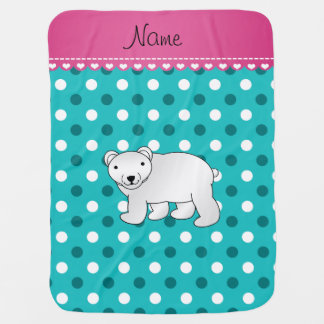 Personalized name polar bear turquoise white dots swaddle blankets