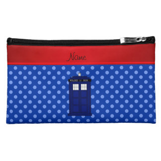 Personalized name police box blue polka dots cosmetics bags