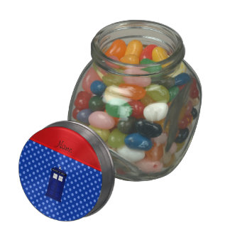 Personalized name police box blue polka dots jelly belly candy jar