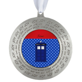 Personalized name police box blue polka dots round ornament