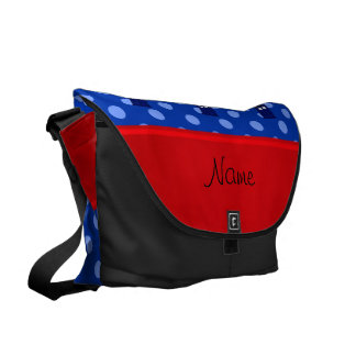 Personalized name police box blue polka dots courier bag